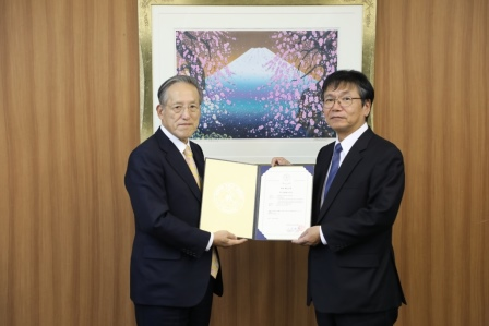 Koichi Fujiwara, Chairman of ClassNK & Yasunori Kohatake, Vice President of TSUNEISHI SHIPBUILDING