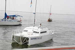 Mr. Horie arrives at Shin-Nishinomiya yacht harbor