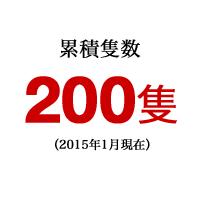 累積隻数 200隻(2015年1月現在)