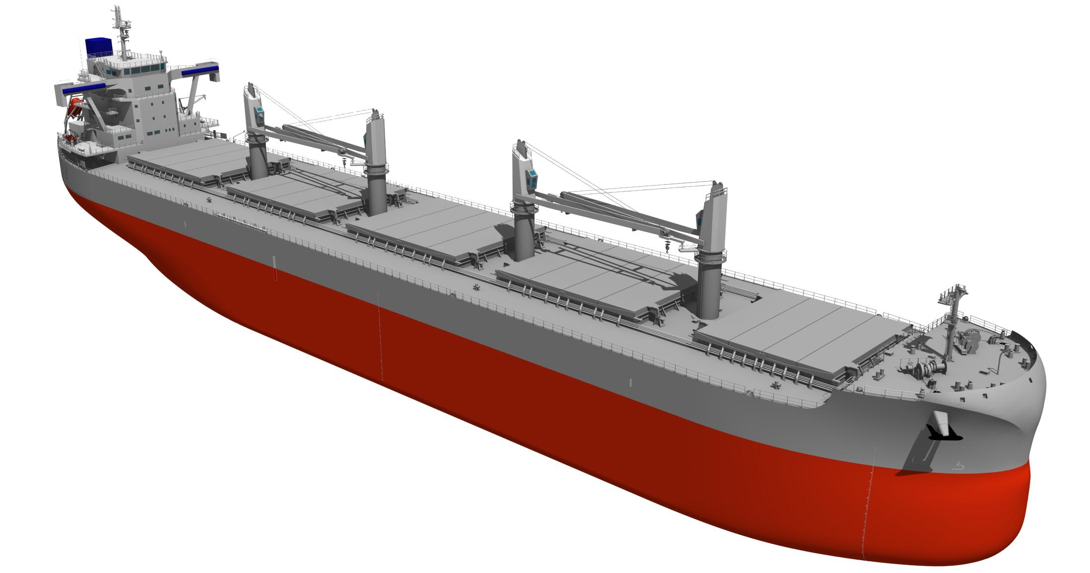 """新船型""""TESS66 AEROLINE""""。常石造船の風圧抵抗削減技術""""AEROLINE""""を搭載している"""